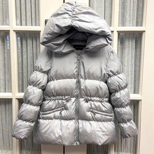 Zara Girls Down Puffer Coat silver/grey size 6